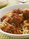 Bowl of Spaghetti Meatballs in Tomato Sauce Stock Images