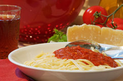 Bowl Of Spaghetti With Red Sauce Stock Photos