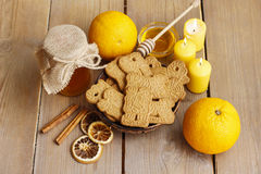 Bowl of speculaas biscuits Stock Photography