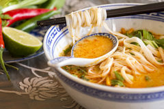 Bowl of spicy Asian soup with noodles Royalty Free Stock Images