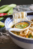 Bowl of spicy Asian soup with noodles Stock Images