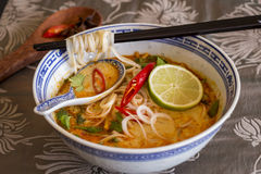 Bowl of spicy Asian soup with noodles Royalty Free Stock Photo