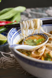 Bowl of spicy Asian soup with noodles Royalty Free Stock Photos