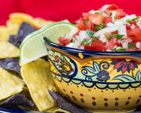 Bowl of spicy salsa and corn chips Royalty Free Stock Photography