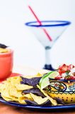 Bowl of spicy salsa and corn chips Royalty Free Stock Photo