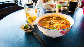 A Bowl Of Spicy Seafood Laksa Noodles Soup Royalty Free Stock Images