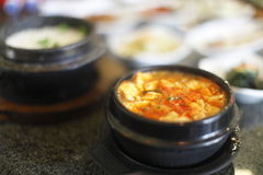 Bowl of spicy tofu soup Royalty Free Stock Photos
