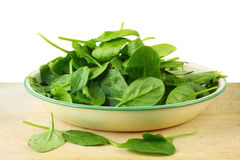 Bowl of Spinach Leaves Royalty Free Stock Photos