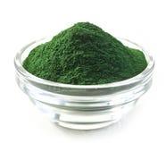 Bowl of spirulina algae powder. On white Royalty Free Stock Images