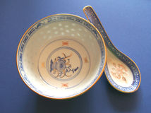 Bowl and spoon. Chinese bowl and spoon made of bone china, Italy stock photography