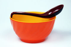 Bowl with spoon Royalty Free Stock Images