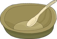 Bowl With Spoon. Cartoon of empty bowl with spoon on isolated background Royalty Free Stock Images