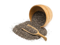 Bowl and spoon with chia seeds Royalty Free Stock Photos