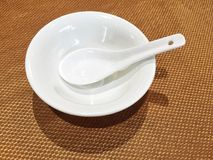 White Bowl and Spoon Stock Photography