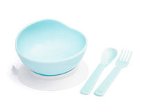 Bowl and spoon and fork for baby Royalty Free Stock Photo
