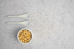 Bowl of sprouted chick peas. On grey backround stock image