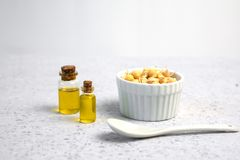 Bowl of sprouted chick peas. On grey backround stock photography