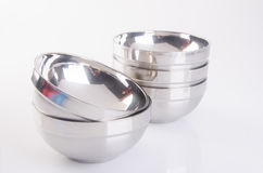 Bowl from stainless steel on background Stock Photo