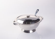 bowl or stainless steel rice bowl on background. Stock Photos