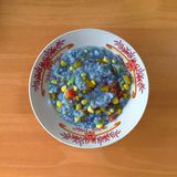 A bowl of steam blue rice. Royalty Free Stock Photography