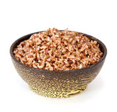 Bowl of steam Red Cargo Rice on white Royalty Free Stock Photos