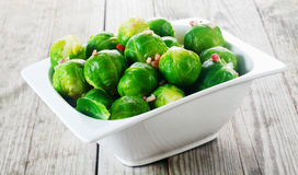 Bowl of steamed brussels sprouts Royalty Free Stock Photo