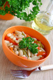 A bowl of stewed beans and vegetables. Royalty Free Stock Image