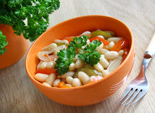 A bowl of stewed beans and vegetables. Stock Image