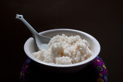Bowl of sticky white rice Stock Images