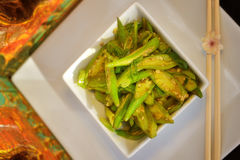 Bowl of stir fried okra  Stock Image