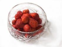 Bowl of Strawberries. Cut-glass bowl of fresh ripe strawberries Royalty Free Stock Image