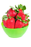 Bowl of Strawberries. Green bowl of red strawberries Stock Photos