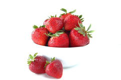 Bowl of strawberries. A bowl of fresh ripe strawberries royalty free stock photos