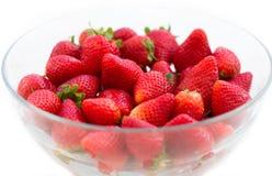 Bowl of strawberries. On white Stock Image