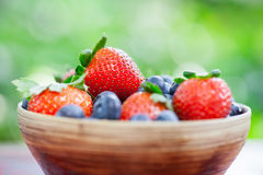 Bowl of Strawberries and Blueberries Royalty Free Stock Images