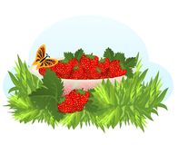 Bowl with strawberries, cdr vector Stock Photography