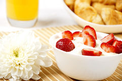 Bowl of Strawberries and Cream Stock Image