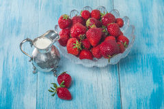 Bowl of Strawberries and Cream Stock Images