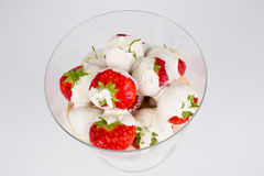 Bowl of strawberries and cream Stock Photos