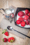 Bowl of Strawberries and Cream Stock Photography