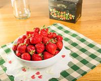 Bowl of strawberries with recipe box Royalty Free Stock Image