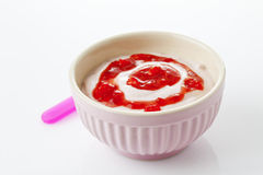 Bowl with strawberry curd Stock Images