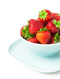 Bowl of strawberry  with fresh berry on white Stock Photography