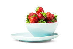 Bowl of strawberry  with fresh berry on white Royalty Free Stock Photography