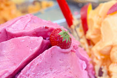 Bowl of strawberry ice cream Royalty Free Stock Photo