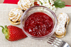 Bowl of strawberry jam Stock Images