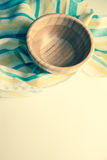 Bowl on striped towel Royalty Free Stock Photos