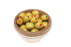 Bowl of stuffed olives Royalty Free Stock Images