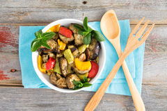 Bowl of succulent Turkish grilled vegetables Stock Photo