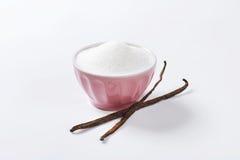 Bowl of sugar and vanilla beans Stock Image